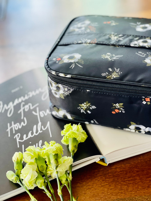 Everyday Cosmetic Bag: Black Floral