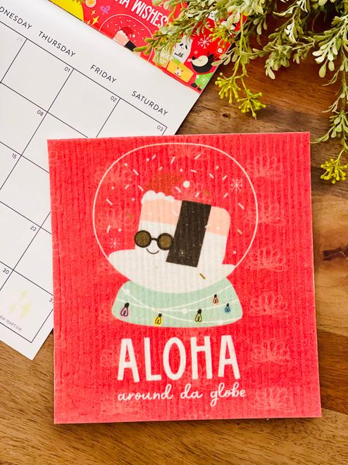 Swedish Dishcloth: Aloha Around Da Globe (Red)