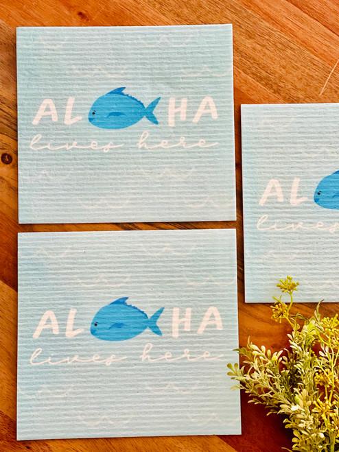 Swedish Dishcloth: Aloha Lives Here Fishy