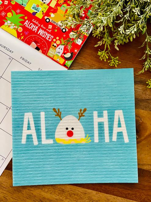 Swedish Dishcloth: Aloha Musubi Reindeer (Teal)