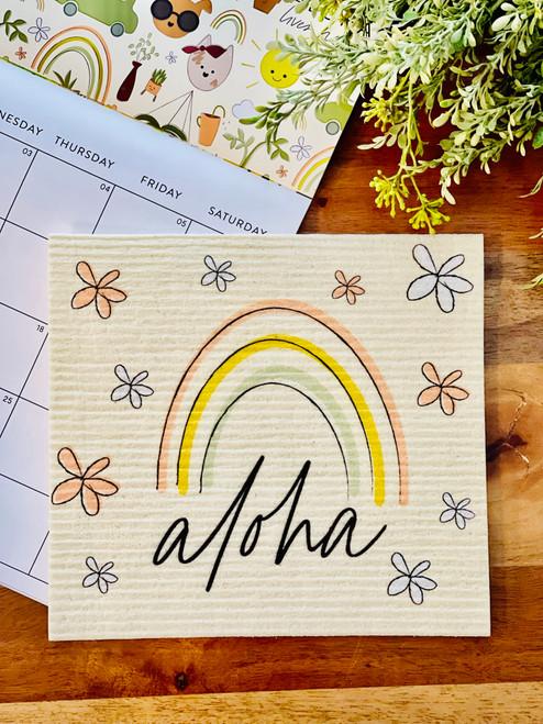 Swedish Dishcloth: Aloha Hand Drawn Rainbow