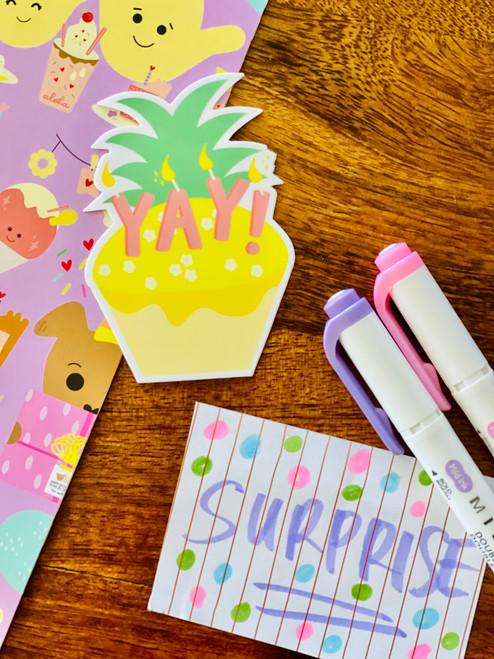 Sticker: Yay Pineapple Cupcake