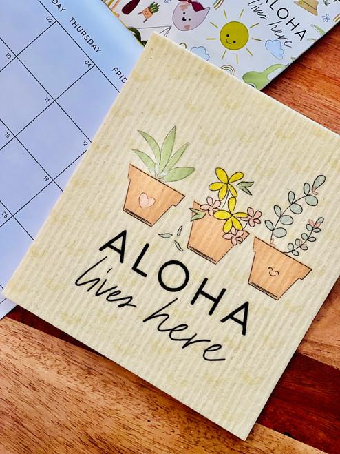 Swedish Dishcloth: Aloha Lives Here Plants