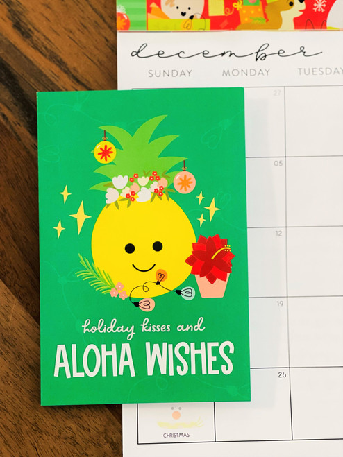 Greeting Card: Holiday Kisses and Aloha Wishes