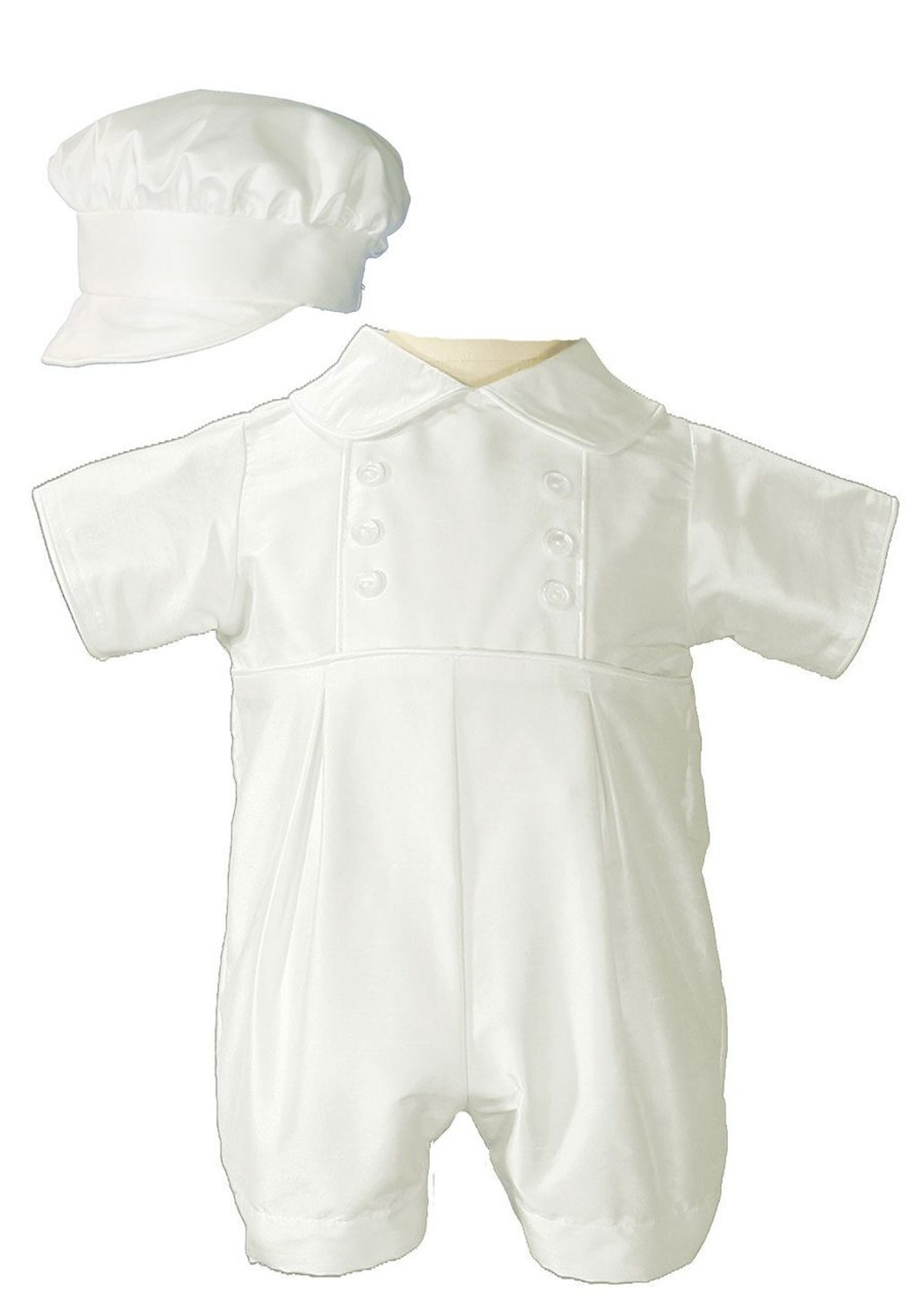 05a413c478bc Boys Silk Dupioni Christening Outfit Baptism Romper with Bonnet Hat