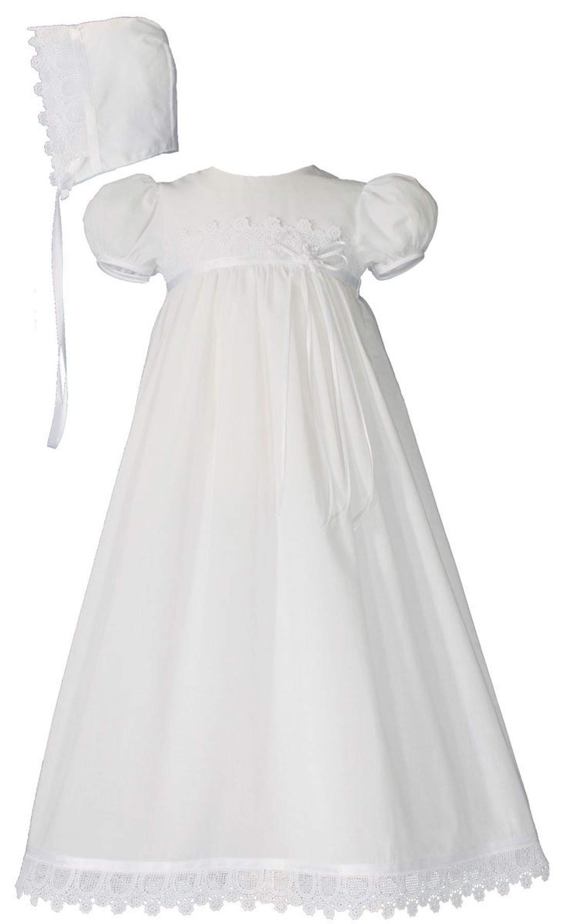 Girls Cotton Christening Gown With Italian Lace 26 Length