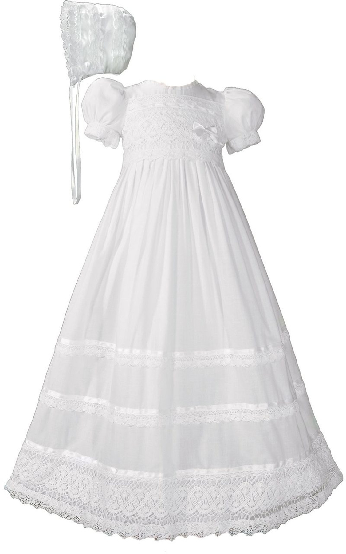 100/% Cotton Dress Christening Gown Baptism Gown with Lace Border