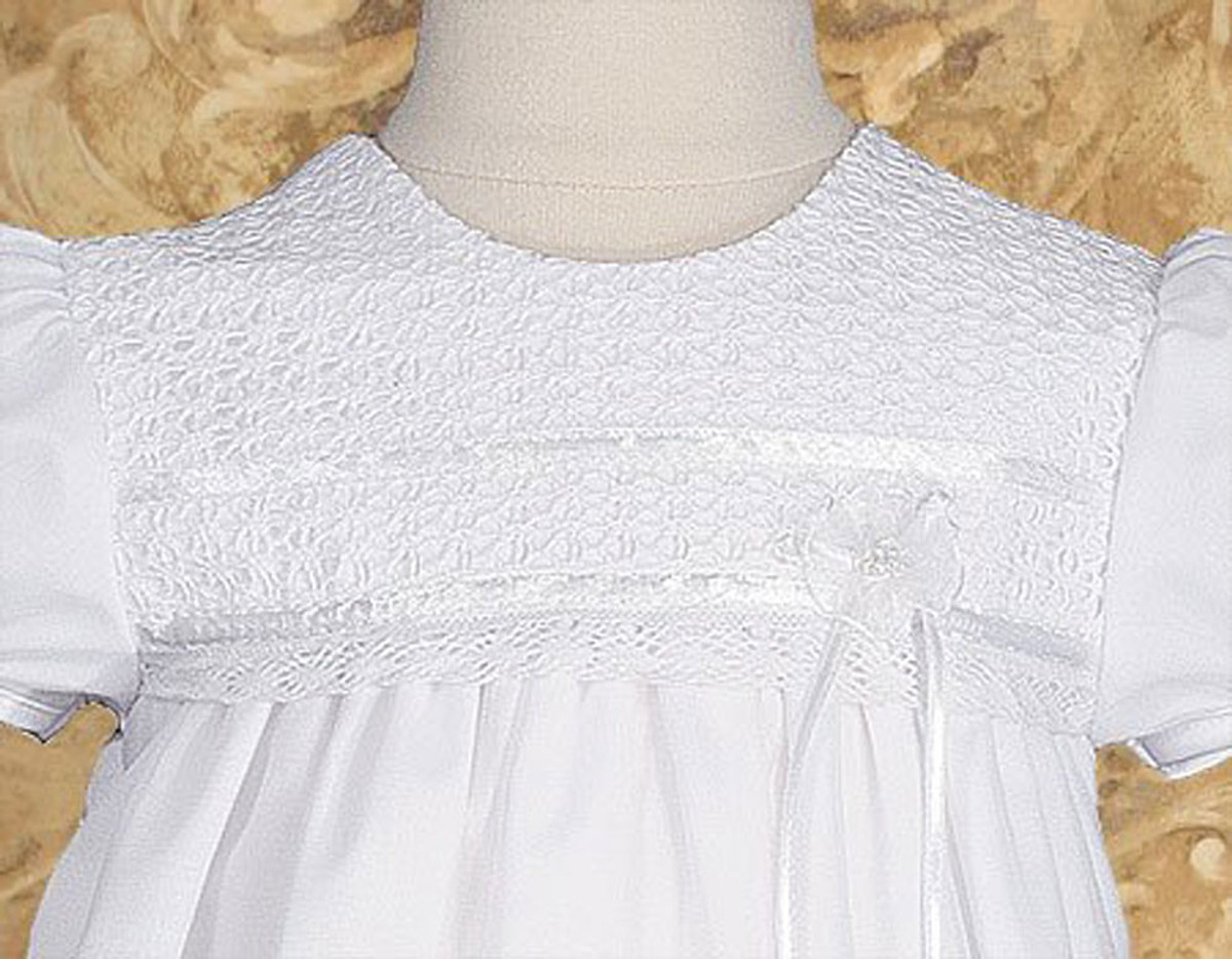 tricot overlay christening baptism gown with tatted lace bonnet