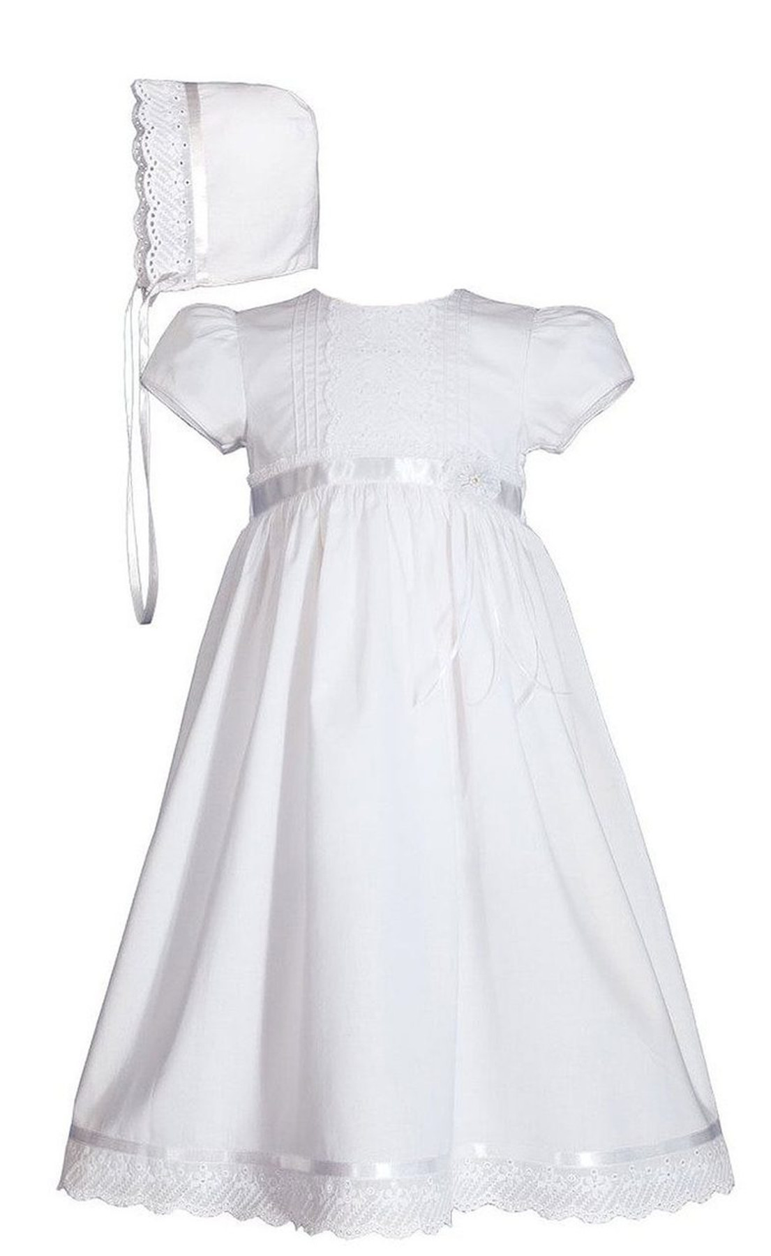 Girls Cotton Christening Gown And Baptism Dress With Lace And Ribbon 24 Length