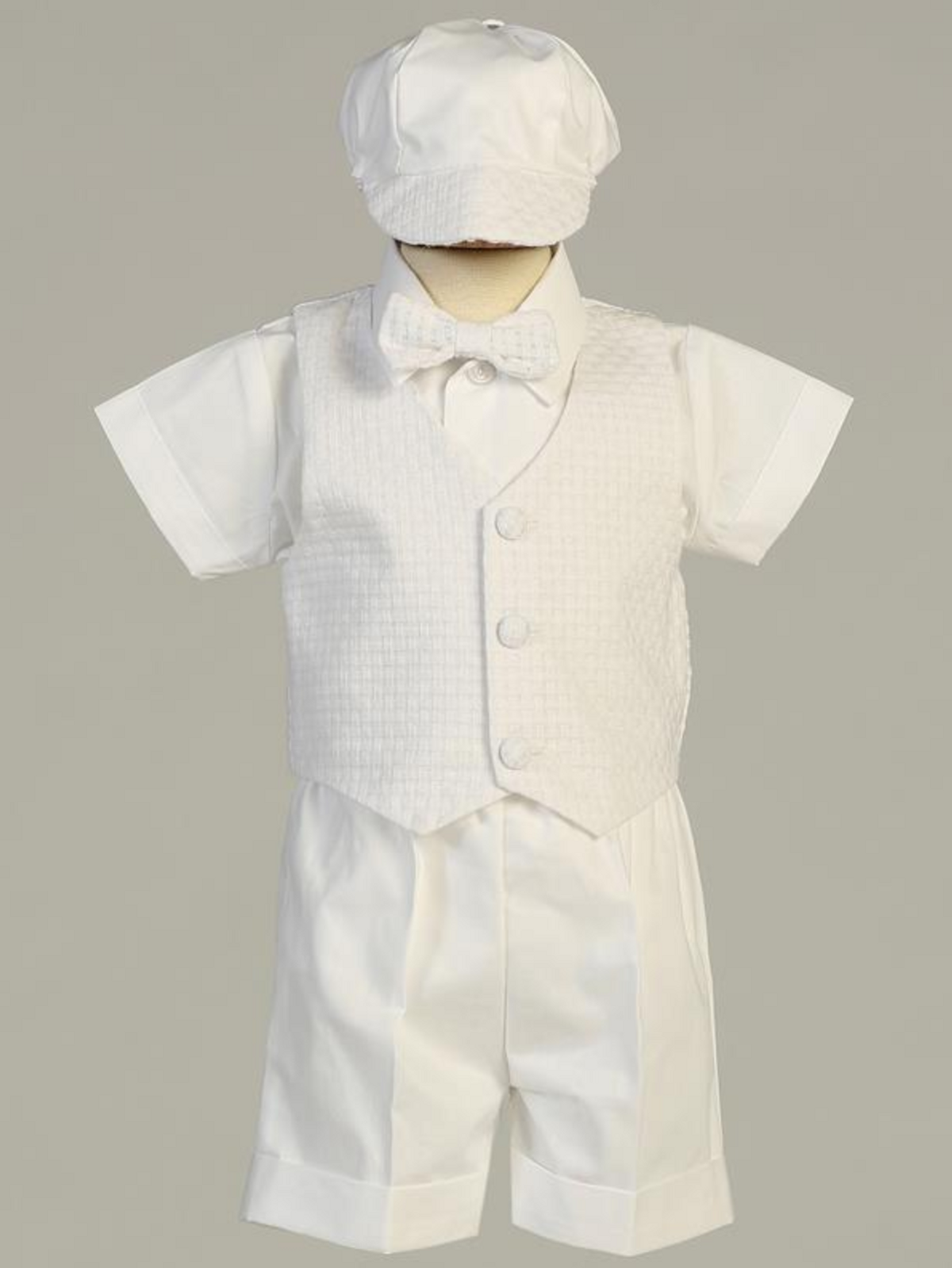a7f09aeaf Boys White Poly Cotton Basketweave Vest and Shorts Christening Outfit with  Hat