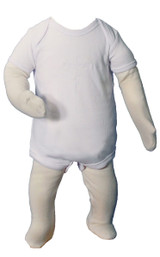 Christening Onesie Coverall with Embroidered Cross, Unisex Cotton Knit