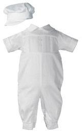 Boys Christening Baptism Coverall with Pleated Front and Hat, Cotton Sateen Short Sleeve