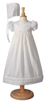 Girls Heart Trimmed Cotton Blend Christening Gown with Bonnet