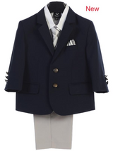 Boy's 4 Piece Suit - 2 Buttoned Navy Jacket and Light Gray Khaki Pants