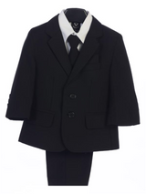 Boy's 5 Piece Suit - 2 Buttoned Black Jacket and Black Pants