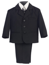 Boy's 5 Piece Suit - Buttoned Black Jacket and Pants
