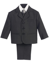 Boy's 5 Piece Suit - 3 Buttoned Dark Gray Jacket and Pants