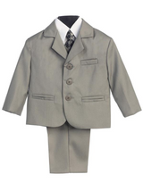 Boy's 5 Piece Suit - 3 Buttoned Light Gray Jacket and Pants