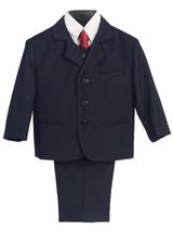 Boy's 5 Piece Suit - 3 Buttoned Navy Jacket and Pants
