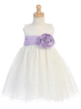 Girls White or Ivory Glitter Tulle Dress with Bow Flower Sash