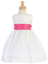 Girls White Poly Silk and Organza Plaid with Bow Sash