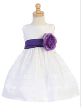 Girls White Poly Silk and Organza Plaid with Flower Bow Sash