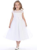 Girls White or Ivory Satin Corded Lace Tulle Dress with Flower on Waist