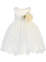 Girls White or Ivory Embroidered Organza Dress with Flower Sash