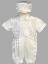 Boys Christening Satin Romper Outfit