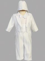 Boys White Christening Satin Tuxedo Outfit
