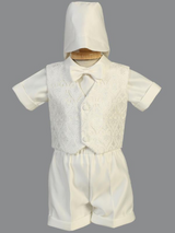 Boys Ivory Christening Glittered Tulle Outfit