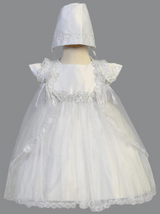 Girls White Satin Sparkled Tulle Gown