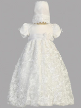 Girls White Satin Ribbon Tulle Christening Gown