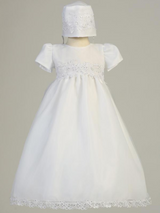 Girls White Organza Christening Gown
