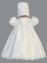 Girls White Shantung and Embroidered Christening Gown