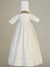 Girls White Cotton Shamrock Christening Gown