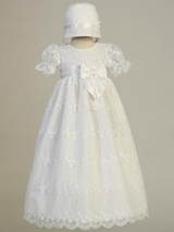 Girls White Christening Embroidered Tulle Christening Gown