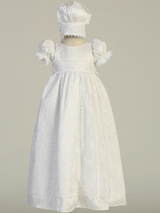 Girls White Silk Christening Gown