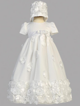 Girls White Floral Ribbon Christening Gown