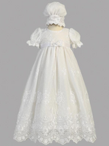 Girls White Christening Embroidered Tulle Gown