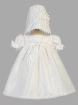 Girls White All Over Lace Tulle Christening Gown