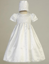 Girls White Diamond Mesh Christening Gown