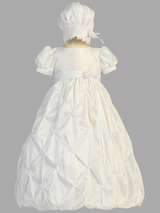 Girls White Gathered Taffeta Christening Gown