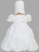 Girls White Poly-Cotton Gathered Jacquard Christening Gown