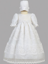 Girls White Organza with Lace Christening Gown
