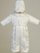 Boys White Satin Long Romper Christening Outfit