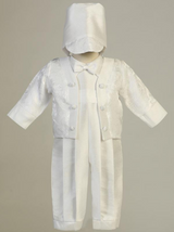 Boys White Poly Bengaline Long Romper Christening Outfit