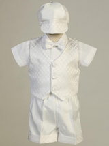 Boys White Diamond Jacquard Christening Outfit