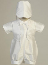 Boys White Poly Bengaline Romper Christening Outfit with Hat