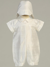Boys White Silk Romper with Hat Christening Outfit